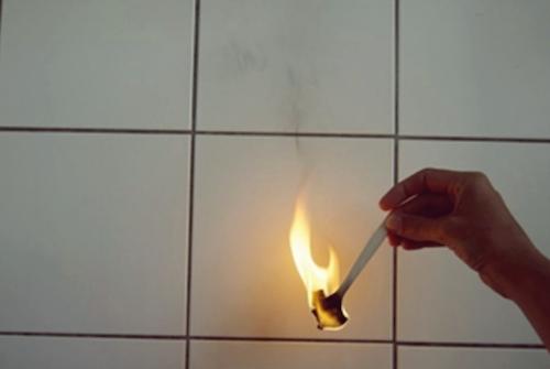 Cutlery burning with light black smoke