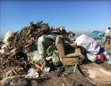 pile of waste (including organic material) at a landfill