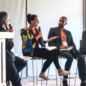 Cat speaking on panel at Food Next Africa conference