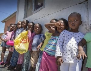 A line of kids at Yiza Ekhaya