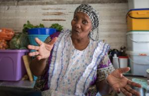 Mama Mickey in her kitchen at Yiza Ekhaya