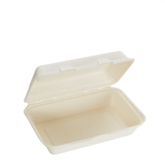 1000ml Single Compartment Sugarcane Rectangular Clamshell