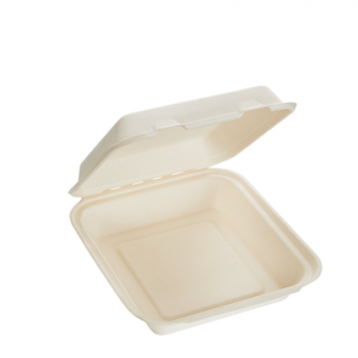 1000ml Single Compartment Sugarcane Square Clamshell