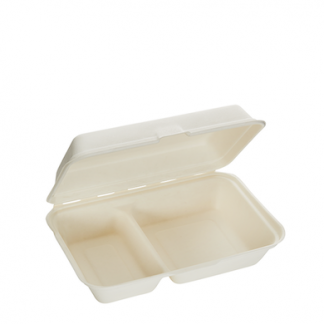 1000ml Two Compartment Sugarcane Clamshell
