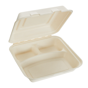 1200ml Three Compartment Sugarcane Square Clamshell