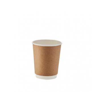250ml Kraft Double Wall Plain Hot Cup