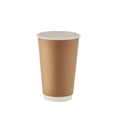 500ml Kraft Double Wall Plain Hot Cup