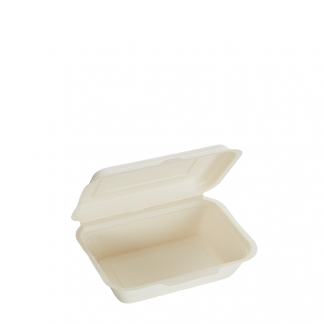 600ml Single Compartment Sugarcane Clamshell