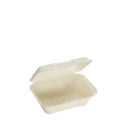 600ml Single Compartment Sugarcane Deep Clamshell