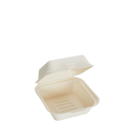 800ml Single Compartment Sugarcane Burger Clamshell