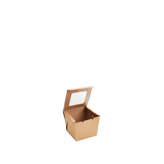 600ml Kraft Muffin Box with PLA Window
