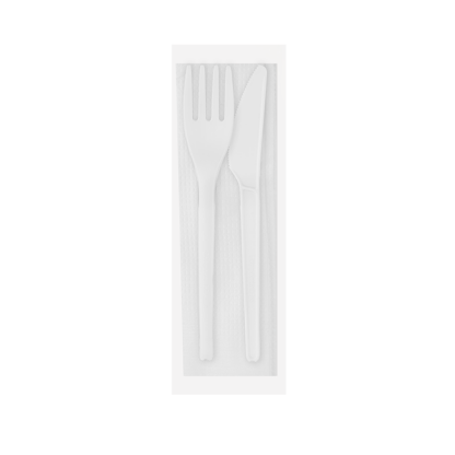 CPLA Knife, Fork and a Serviette in Compostable Bag