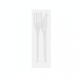CPLA Knife & Fork in a Compostable Bag