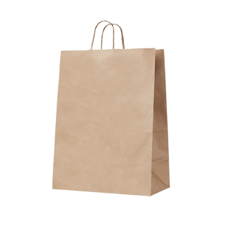 140gsm Handypack Kraft Gusseted Bag with Paper Twist Handles