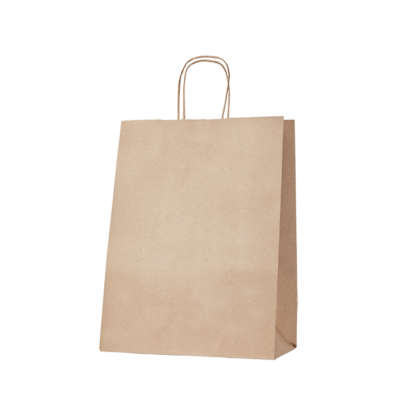 100gsm Large Kraft Gusseted Bag with Paper Twist Handles