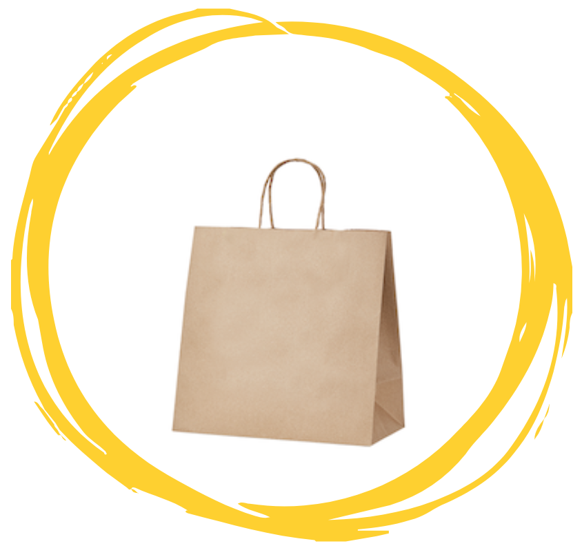 A brown paper bag with paper twist handles