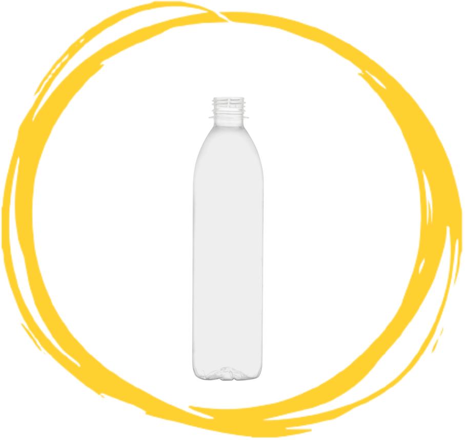 Single clear PLA bottle