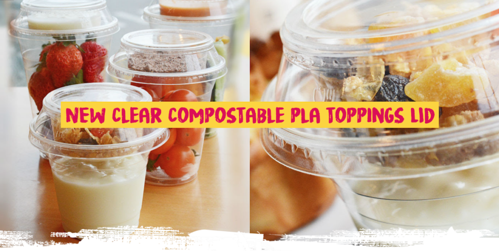 New clear compostable PLA toppings lid