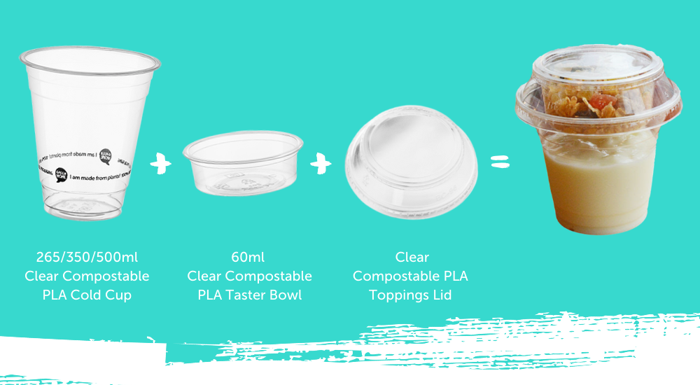 The three parts of a toppings bowl with toppings lid