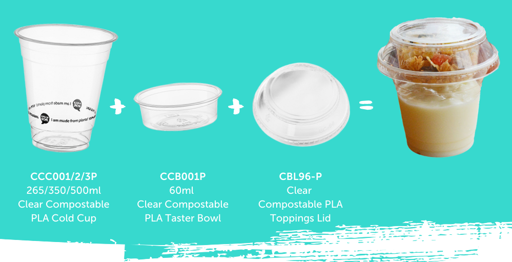 an image showing how the cup, taster bowl and insert lid fit together to make a cup with a toppings container